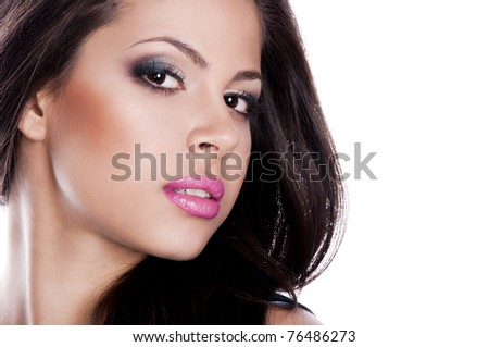 pretty brunette woman with pink lips - stock photo