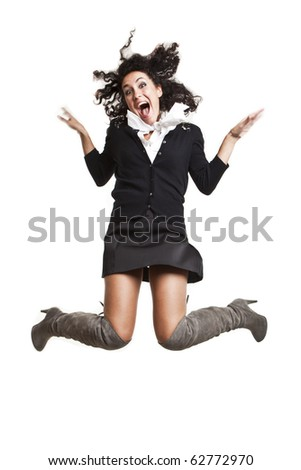 pretty brunette young girl jumping - stock photo