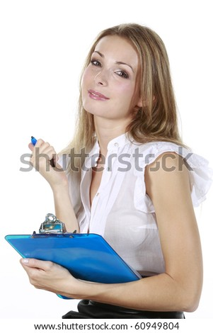 Pretty business blond lady  isolated in a white background