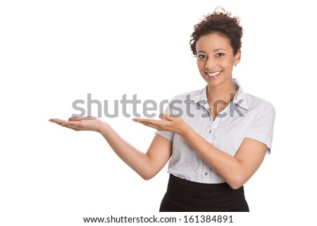 Pretty business or sales woman showing with hand gesture isolated on white background - stock photo