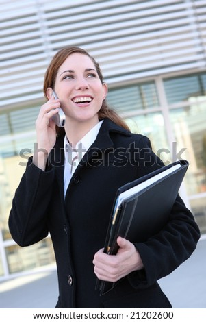 Pretty business woman at office on the phone