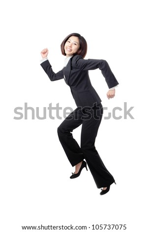 pretty business woman happy running and jump very fast in full length isolated on white background, model is a asian beauty - stock photo