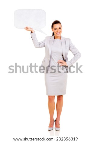 pretty business woman holding blank speech bubble isolated on white - stock photo