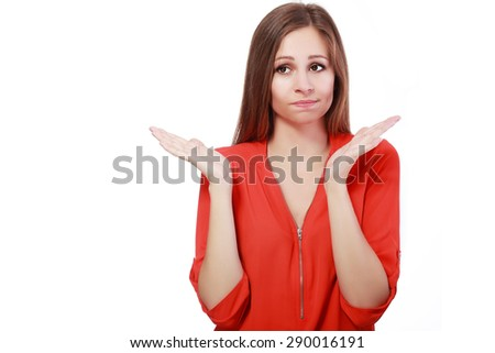 Pretty business woman holding her hands out saying that she does not know isolated over white background. No idea concept - stock photo