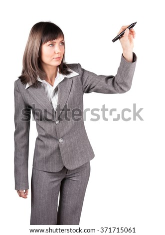 Pretty business woman in suit drawing a graph or anything else on empty  background