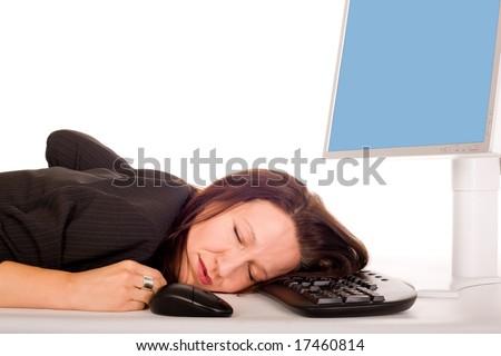 pretty business woman is sleeping on computer keyboard - stock photo