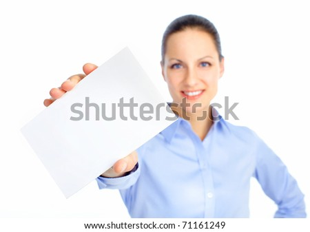 Pretty business woman showing a card - stock photo