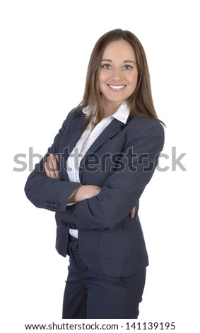 Pretty business woman smiling, Studio Shot - stock photo