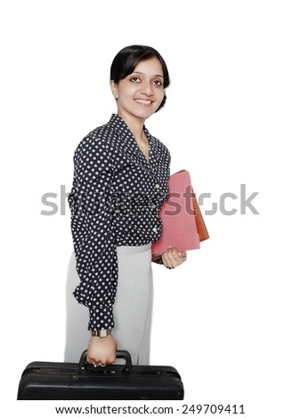 Pretty business woman traveling overseas. - stock photo