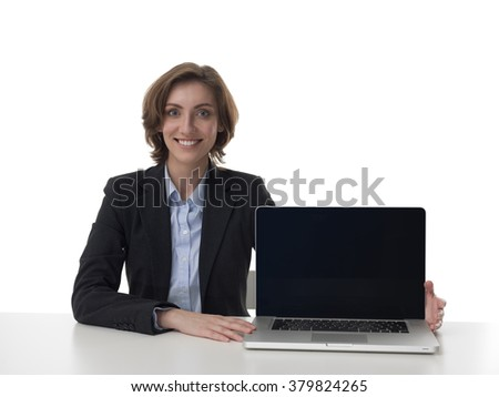 Pretty business woman with laptop portrait isolated on white background