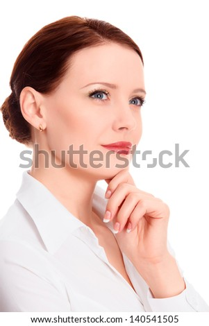 Pretty businesswoman against the white background, copyspace - stock photo