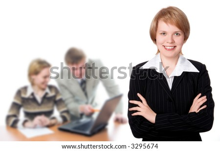 Pretty businesswoman and business team over white background - stock photo