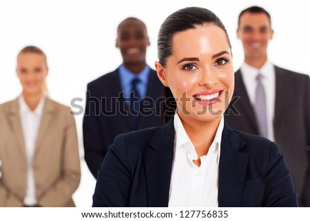 pretty businesswoman and team on white background - stock photo