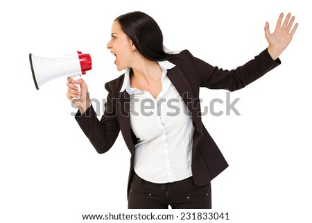 Pretty businesswoman shouting with megaphone on white background