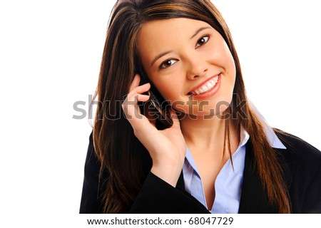 Pretty businesswoman taking a call, isolated on white - stock photo