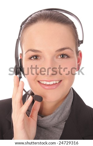 Pretty businesswoman with a headset - Isolated on white