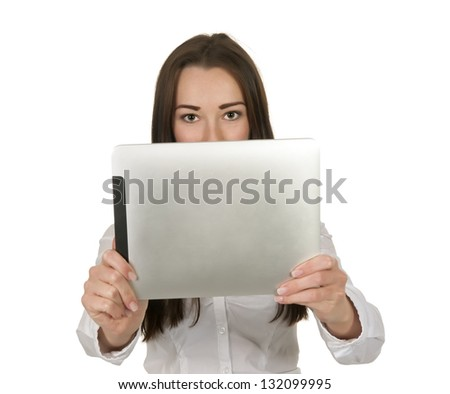 pretty businesswoman with tablet pc