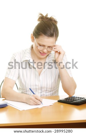 Pretty businesswoman writing on paper photo over white background