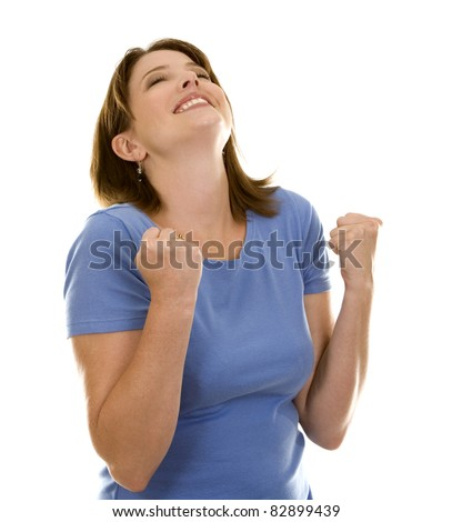 pretty casual brunette very excited on white background - stock photo