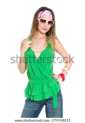 Pretty Casual young woman in sunglasses with jeans posing  - stock photo
