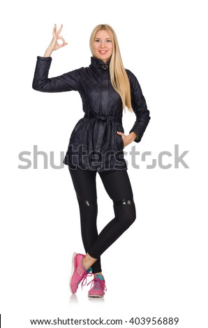 Pretty caucasian girl wearing sporty style isolated on white