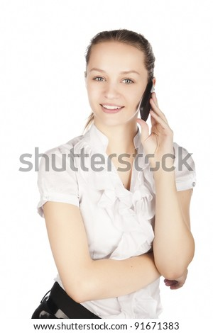 pretty caucasian girl with cellular phone, attractive girl with phone, talking about, portrait of young woman with cell phone, isolated on white, - stock photo