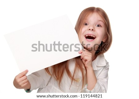 Pretty caucasian little girl with white banner looking at camera - stock photo