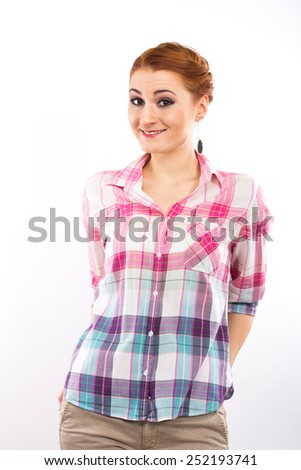 Pretty cheerful girl on a white background.Portrait of a slim girl. Isolated on white. teenage style - stock photo