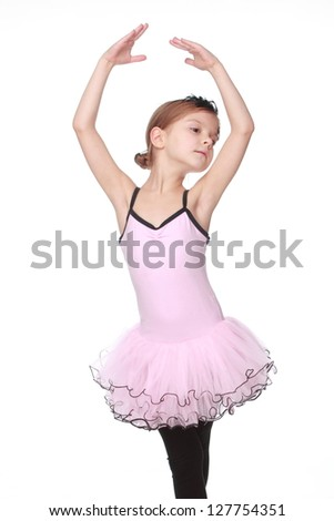 Pretty child express her feelings over dance - stock photo
