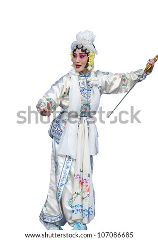pretty chinese taditional opera actress with white isolated background - stock photo