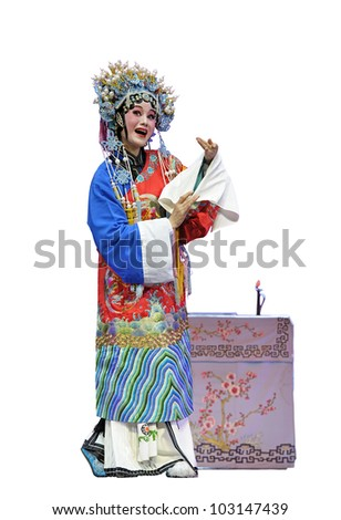pretty chinese traditional opera actress with white isolated background - stock photo