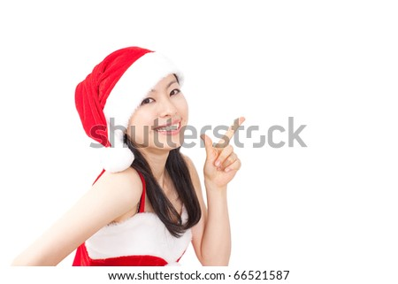 pretty christmas girl in red dress and santa hat introduce something