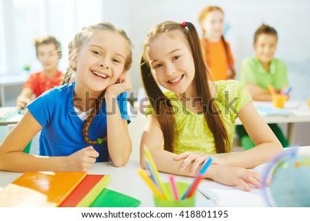 Pretty classmates - stock photo