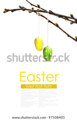 Pretty Colored Easter Eggs hanging on Ribbons with bows  (with easy removable text ) - stock photo