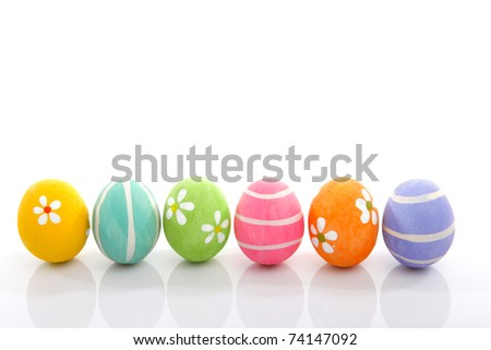 Pretty colourful painted eggs decoration - suitable for easter. - stock photo