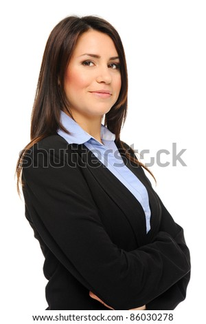 Pretty confident brunette in formal business attire poses for a portrait in studio, isolated on white