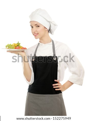 Pretty cook chief holding salad, isolated on white background