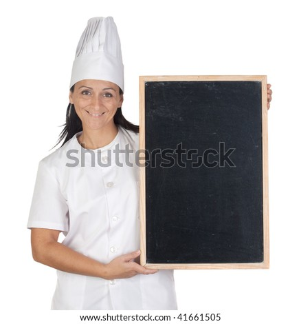 Pretty cook girl with blank slate isolated on white background