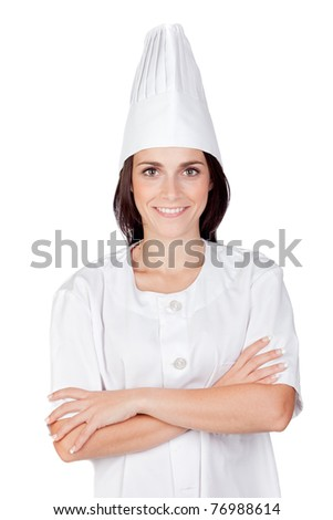 Pretty cook woman isolated on white background - stock photo