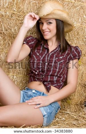 Pretty Country Girl - stock photo