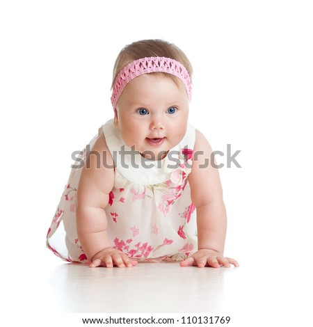 pretty crawling baby girl isolated on white background - stock photo