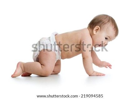 pretty crawling baby isolated - stock photo