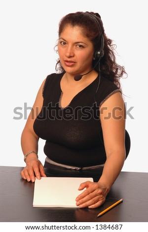 pretty customer service representative - stock photo
