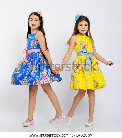 pretty dancing girls - stock photo