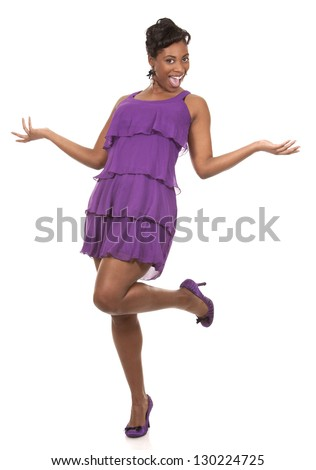 pretty dark woman wearing purple dress on white background
