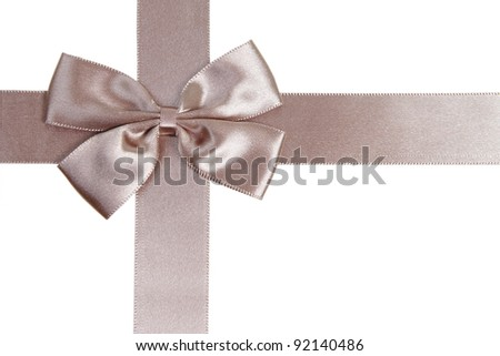 pretty decorative bow with ribbon isolated on a white - stock photo