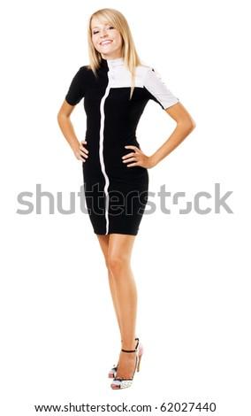 Pretty elegant businesswoman against white background - stock photo