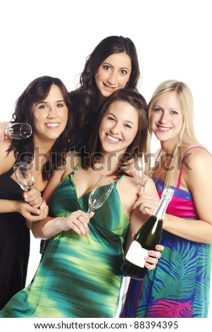 Pretty elegant girls with glasses and champagne bottle over white background