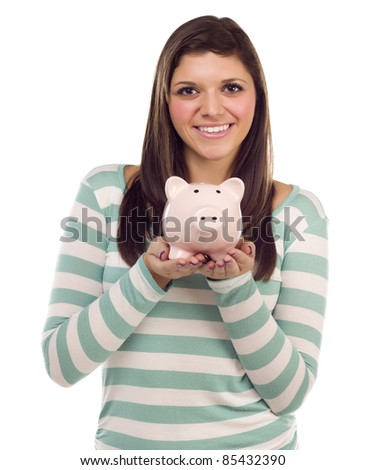 Pretty Ethnic Female Holding Pink Piggy Bank Isolated on a White Background.