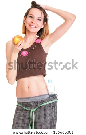 pretty excited woman happy smile hold fresh apple in hand, young attractive girl isolated